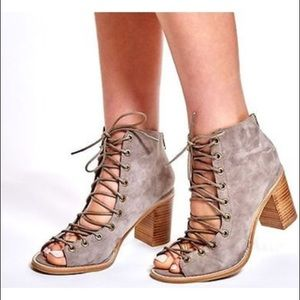 Jeffrey Campbell taupe peep toe lace up booties